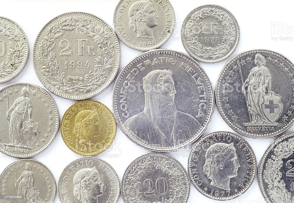 Swiss coins. royalty-free stock photo