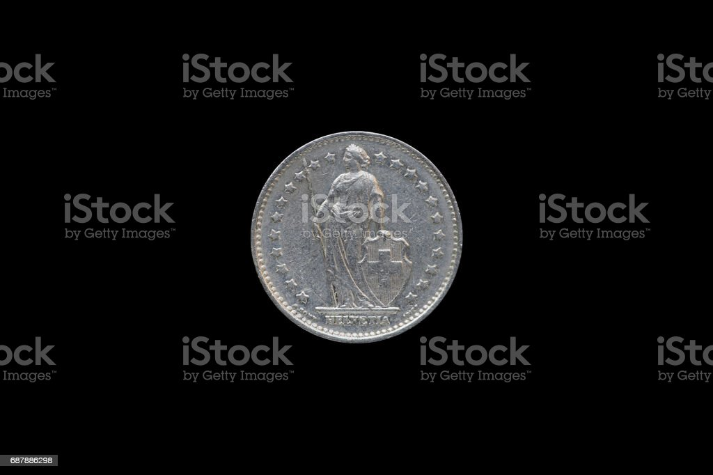 Swiss Confederation money coin 1 Francs isolated on black background, 1968 year. stock photo