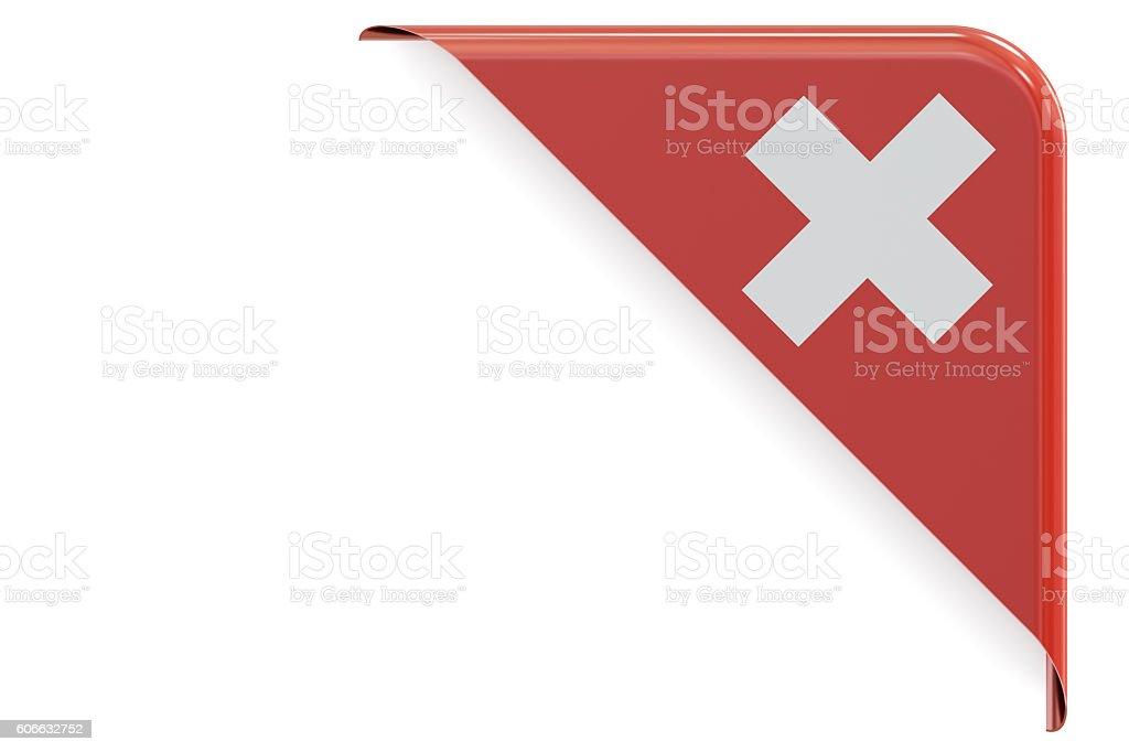 Swiss corner, button. 3D rendering stock photo