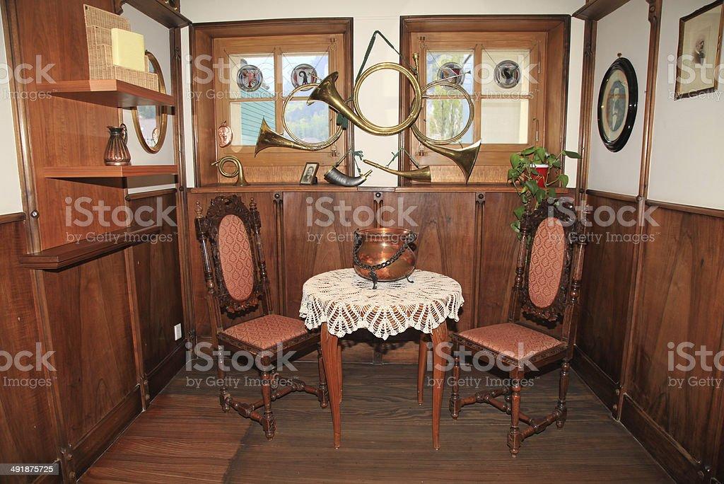 swiss country room interior, Switzerland. stock photo
