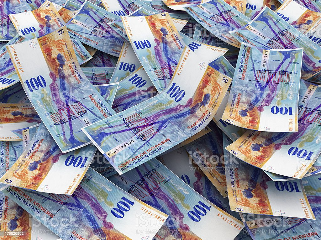 Swiss Currency Bank Notes (Swiss Francs) royalty-free stock photo