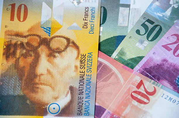 swiss currency, franc - franken stockfoto's en -beelden