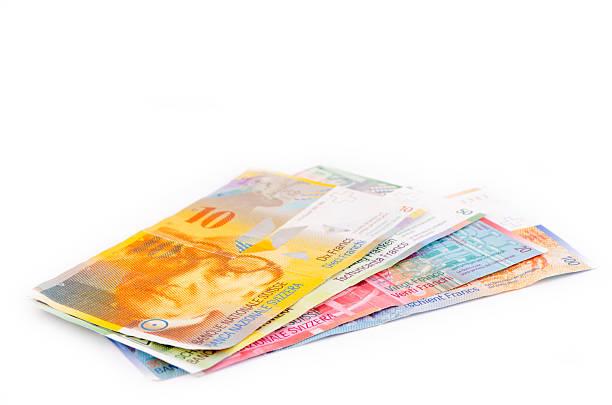 swiss currency francs - franken stockfoto's en -beelden