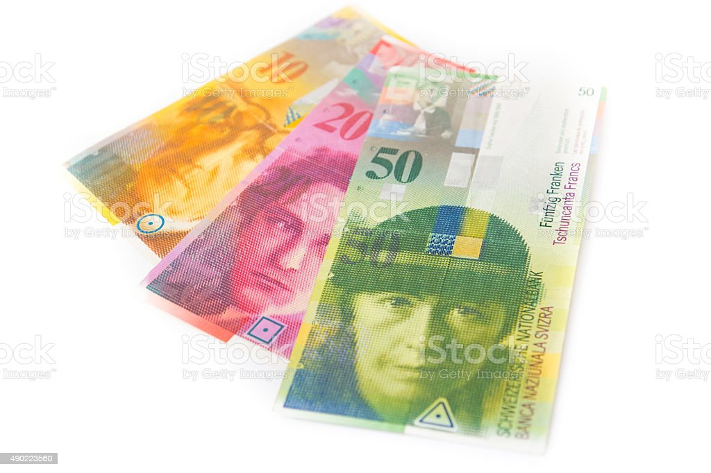 Swiss currency money franc stock photo