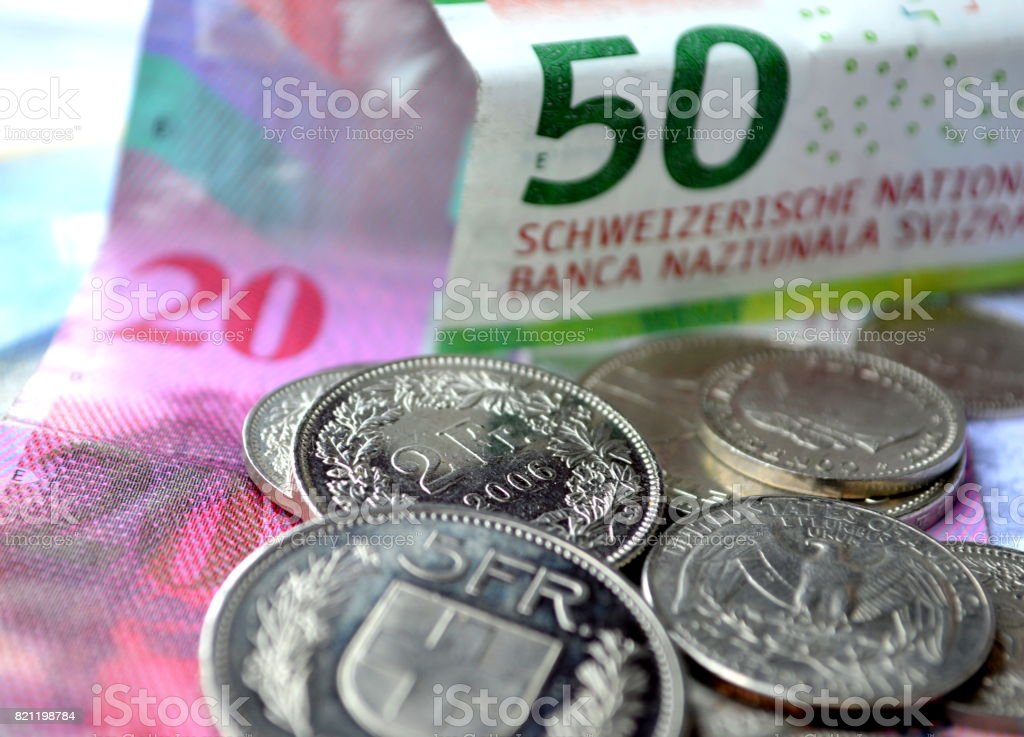Swiss currency stock photo