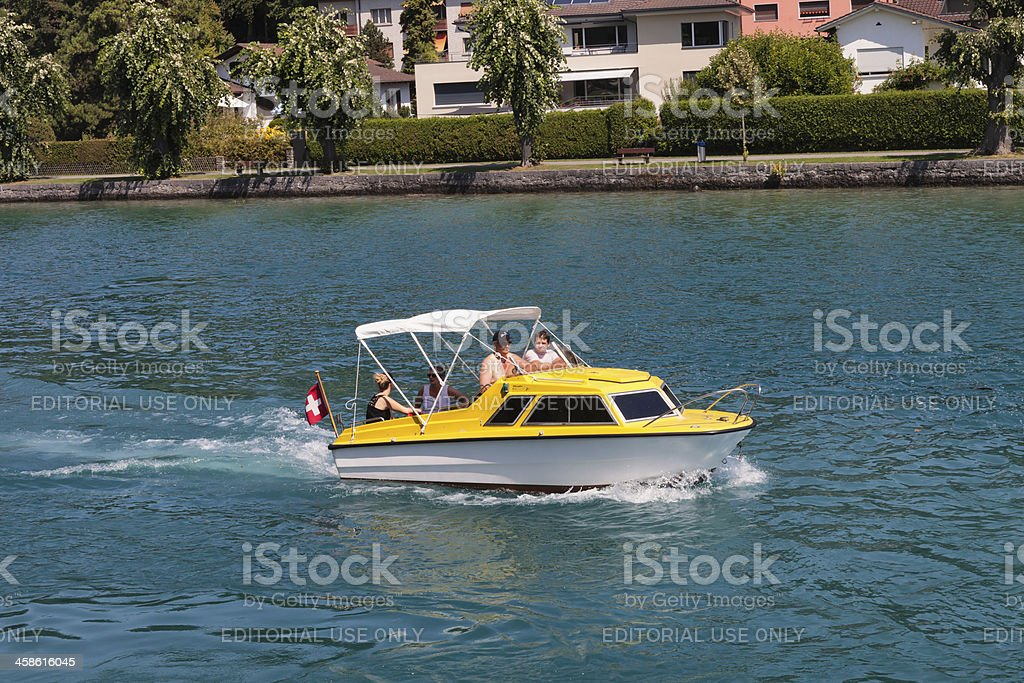Swiss Family taking a cruise on the Aare River royalty-free stock photo