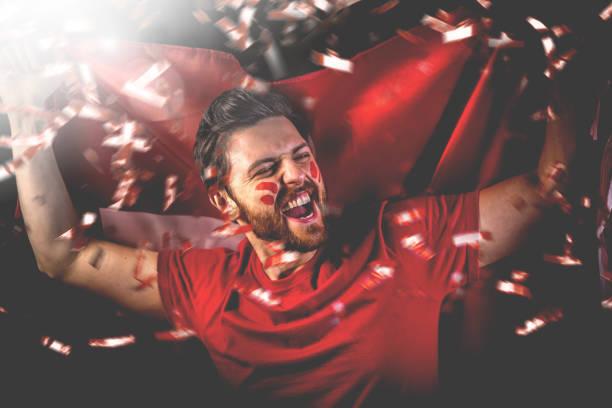 zwitserse ventilator die met de nationale vlag viert - internationale voetbal stockfoto's en -beelden