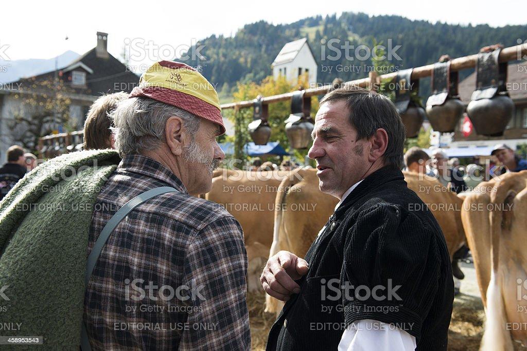 Swiss Farmers at the Aelperfest Agricultural Fair stock photo