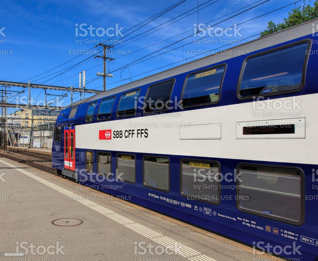A Swiss Federal Railways train at a platform of the Aarau railway station stock photo