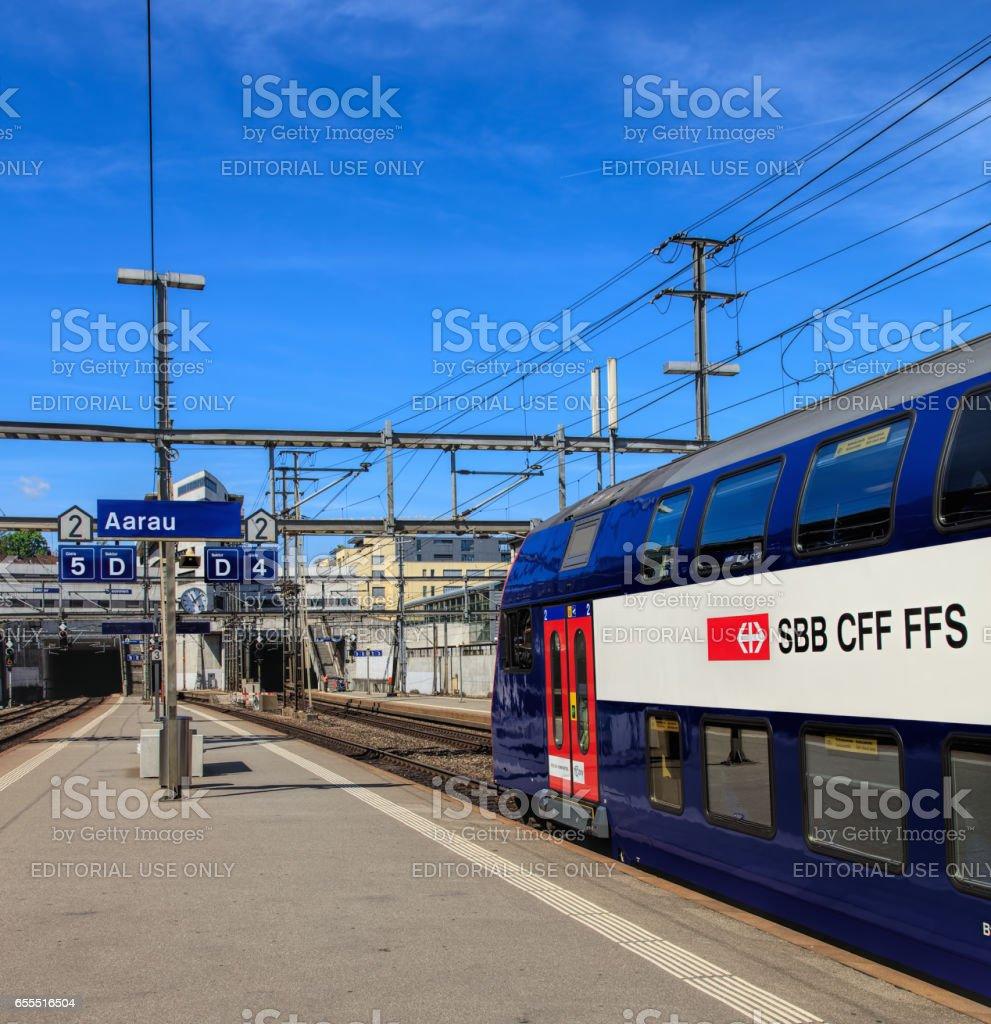 Swiss Federal Railways train at a platform of the Aarau railway station stock photo