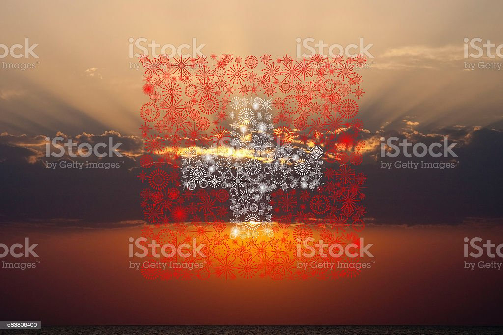 swiss fireworks flag on sunset stock photo