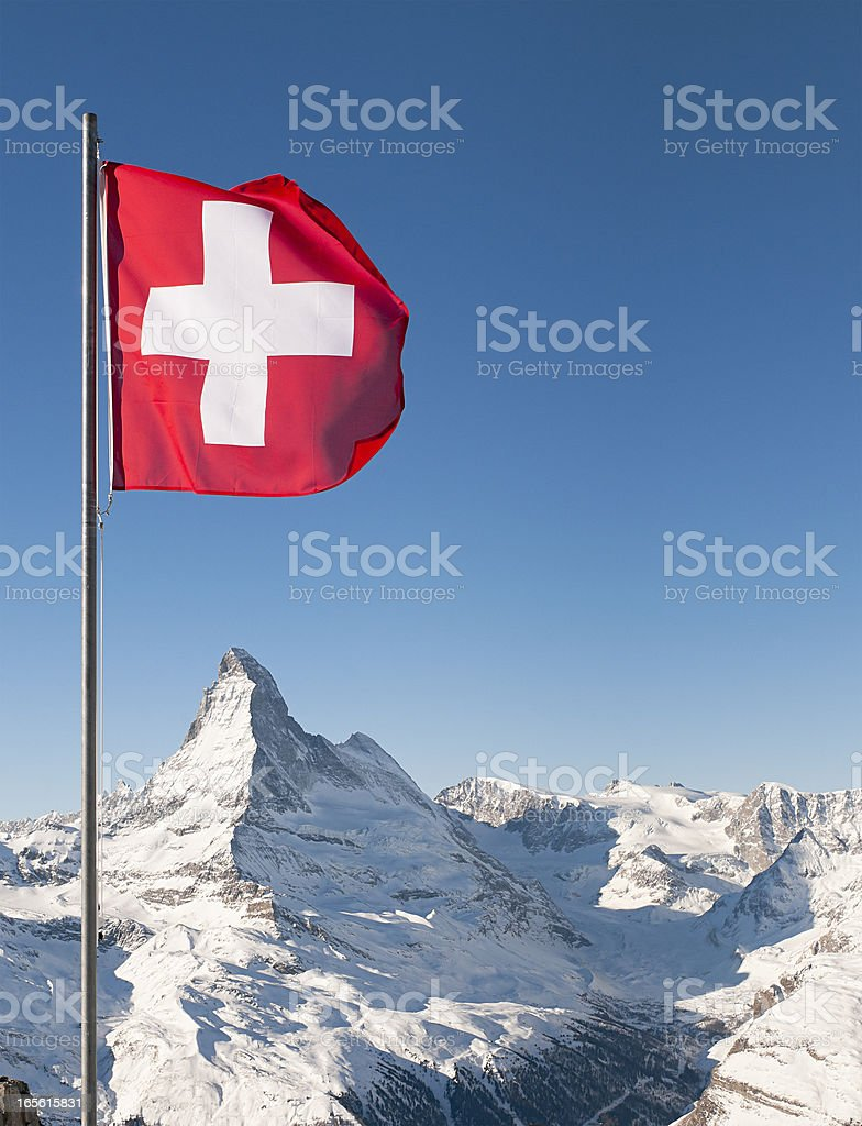 Swiss Flag and Matterhorn stock photo