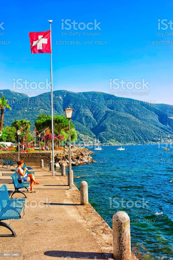 Swiss flag in Ascona Ticino in Switzerland CH zbiór zdjęć royalty-free