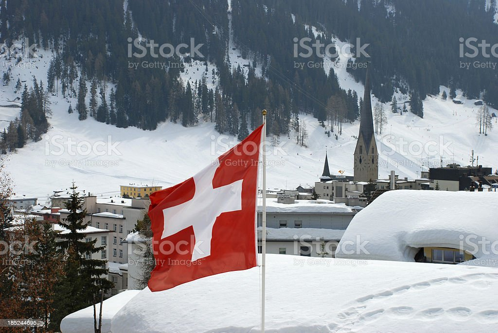 Swiss flag in Davos stock photo