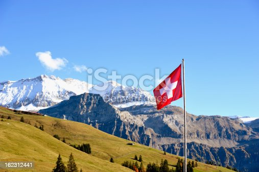 Swiss flag in front of the Wildstrubel mountain in the Bernese Alps