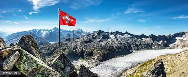 Swiss flag in front of the Rhone glacier