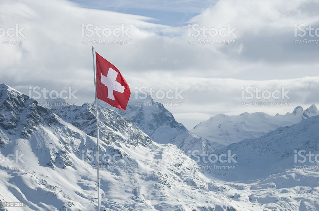 Swiss flag in the Engadin stock photo