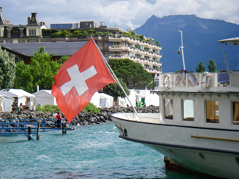 Swiss Flag on stern of Lake Geneva Steamer Montreux Switzerland