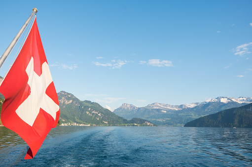 Swiss flag on the back of a boat
