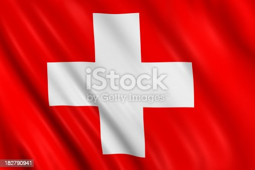 Flag of switzerland waving with highly detailed textile texture pattern