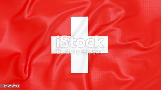 Top view of flag of Switzerland