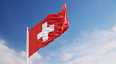 Swiss Flag Waving With Wind Over Blue Sky
