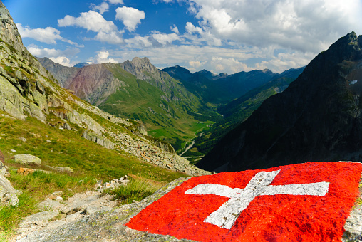 Swiss flag with view of the Val Ferret in Swiss Alps