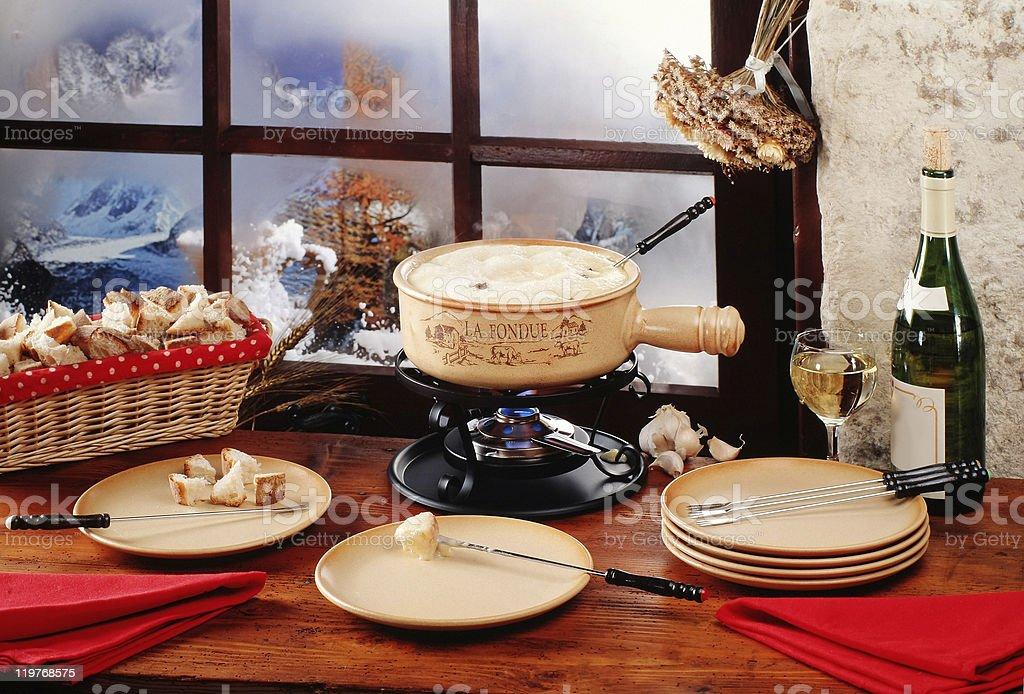 Swiss fondue stock photo