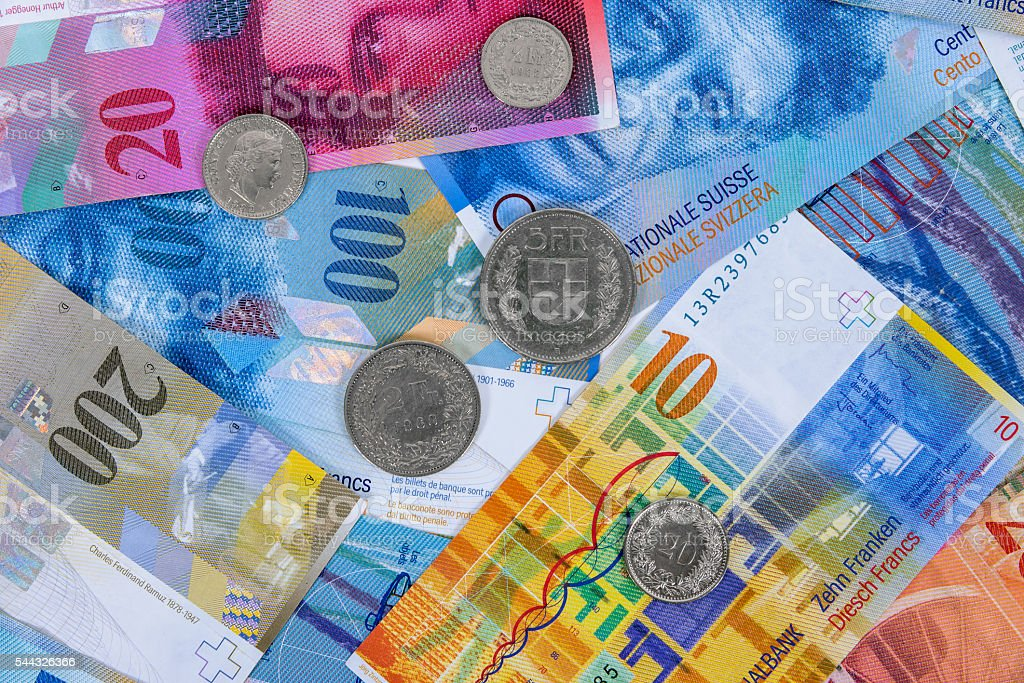Swiss franc banknotes and coins as background stock photo