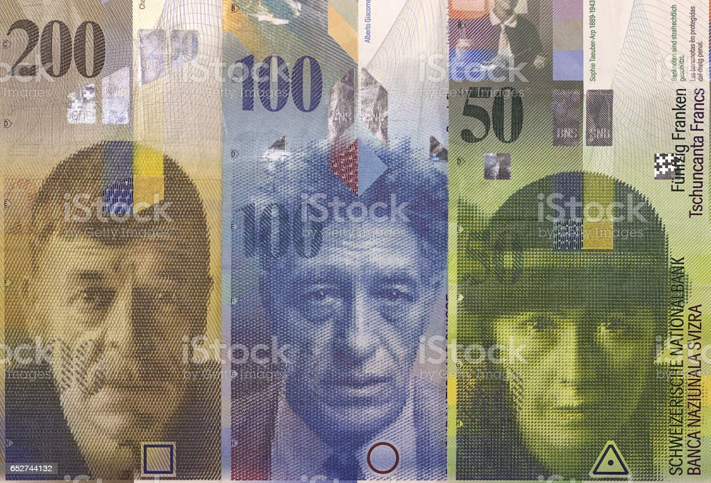 Swiss franc banknotes of different denominations. Money Background. stock photo