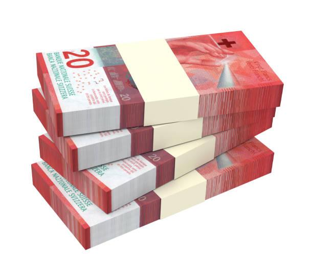 Swiss franc bills stock photo