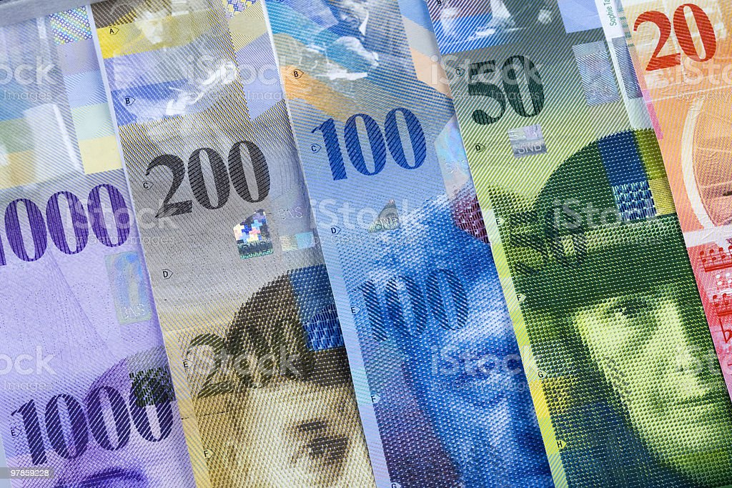 Swiss Franc Bills stock photo
