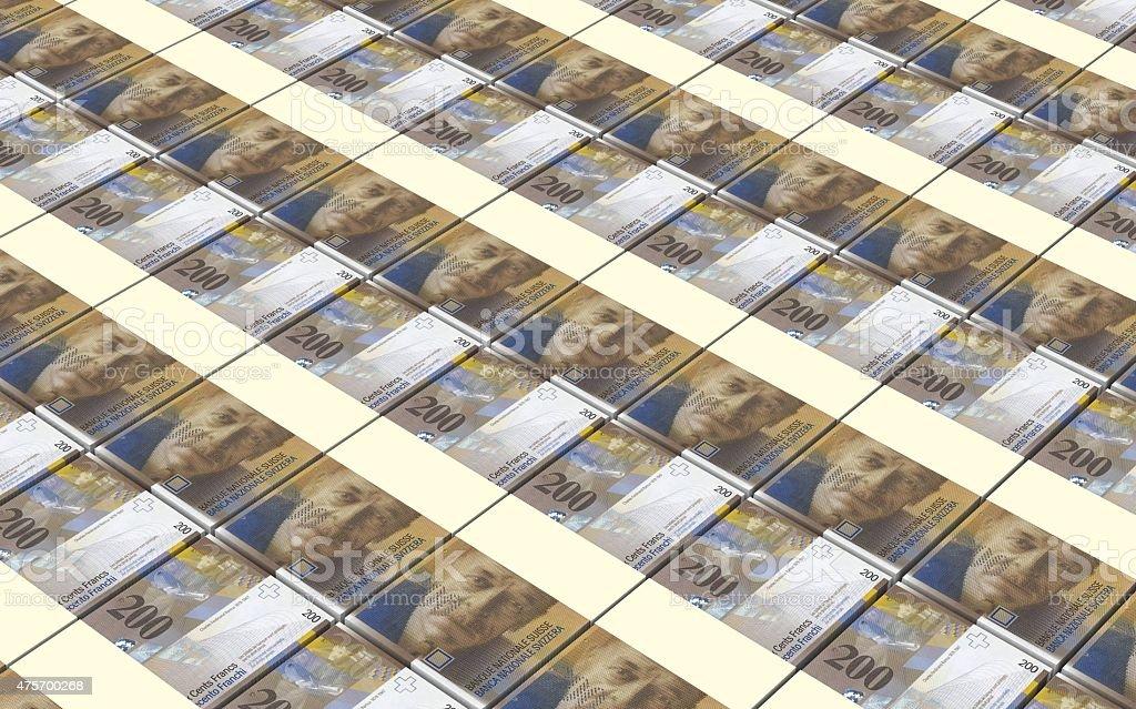 Swiss franc bills stacks background. stock photo