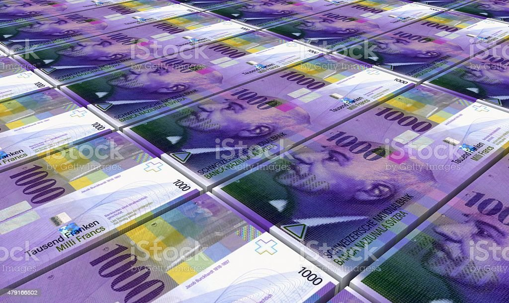 Swiss franc bills stacks background. stock photo