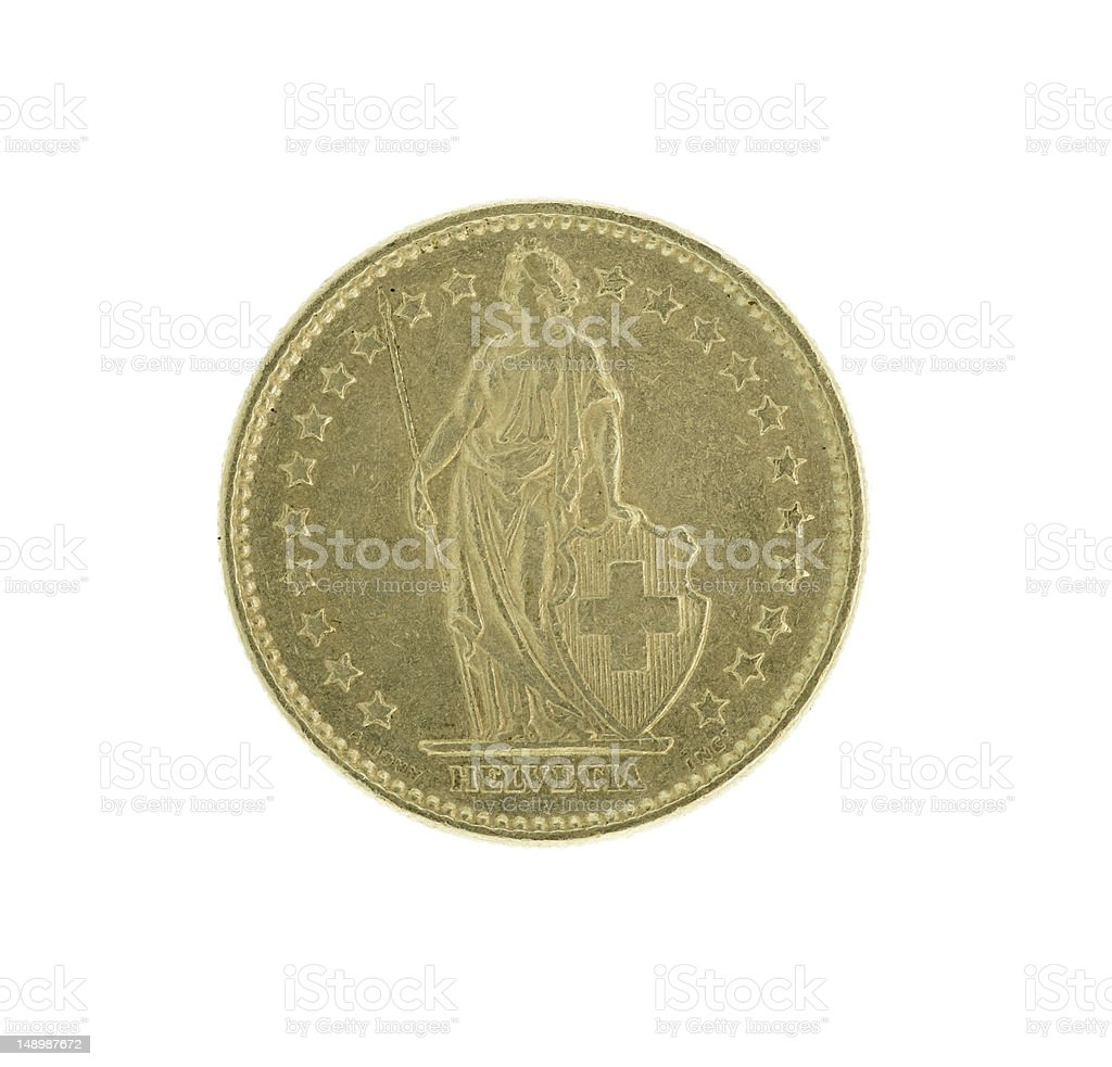 Swiss Franc Coin (High Resolution Image) royalty-free stock photo
