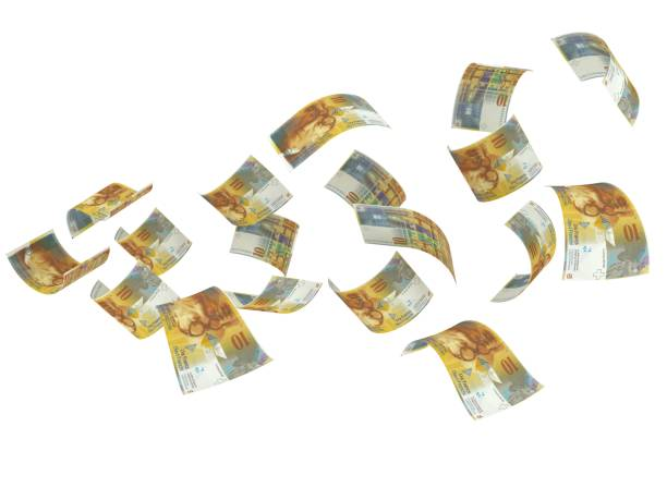 Swiss franc falling money concept stock photo