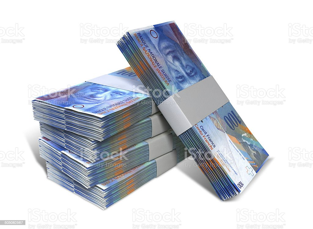 Swiss Franc Notes Bundles Stack stock photo