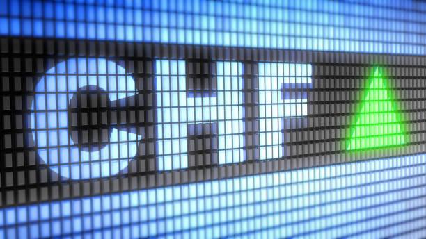 Schweizerfranken auf dem Bildschirm. – Foto