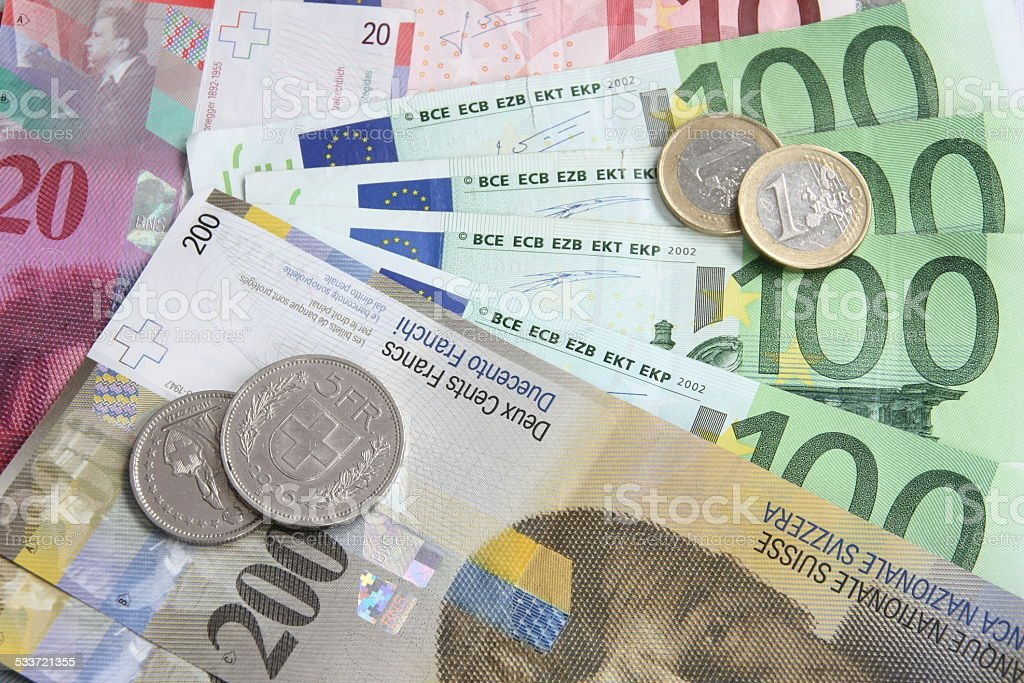 Swiss Franc versus Euro stock photo