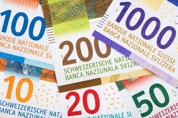 zwitserse franken, een achtergrond - franken stockfoto's en -beelden