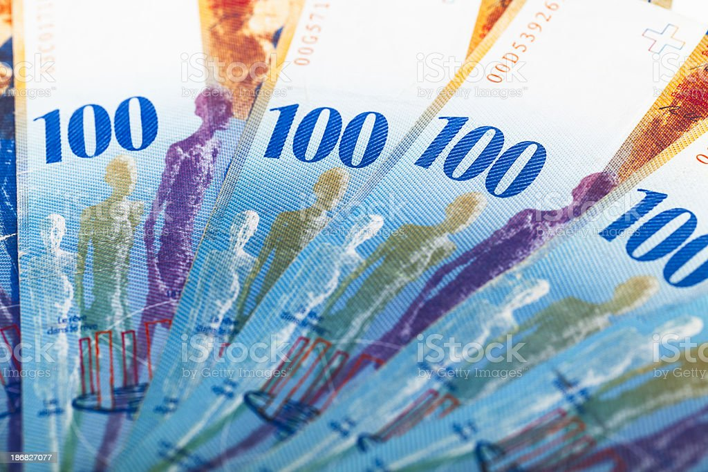 Swiss Francs Close-Up royalty-free stock photo