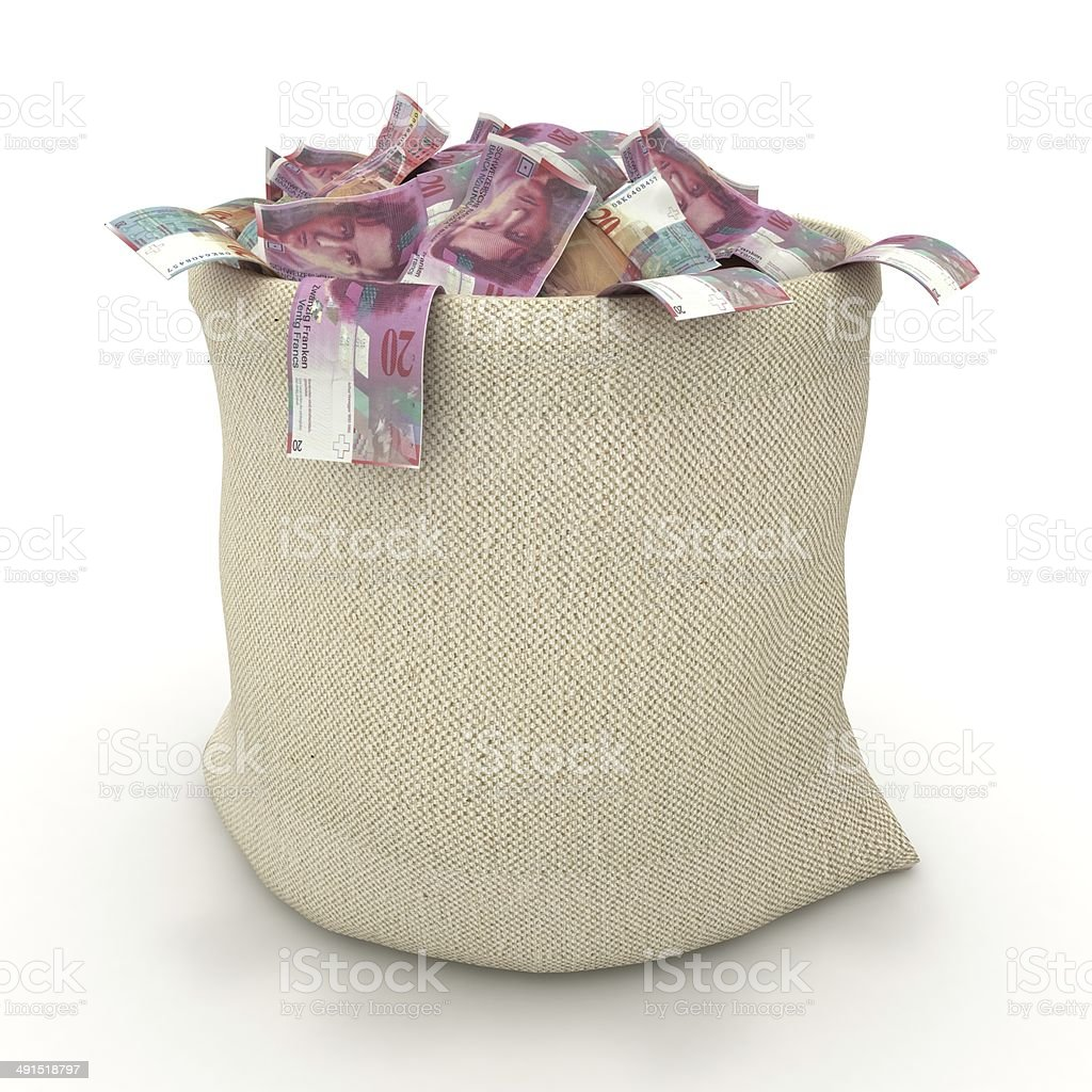 Swiss Francs Money Bag stock photo