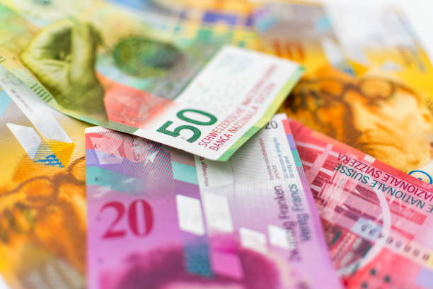 Swiss Francs (CHF) paper currency stock photo