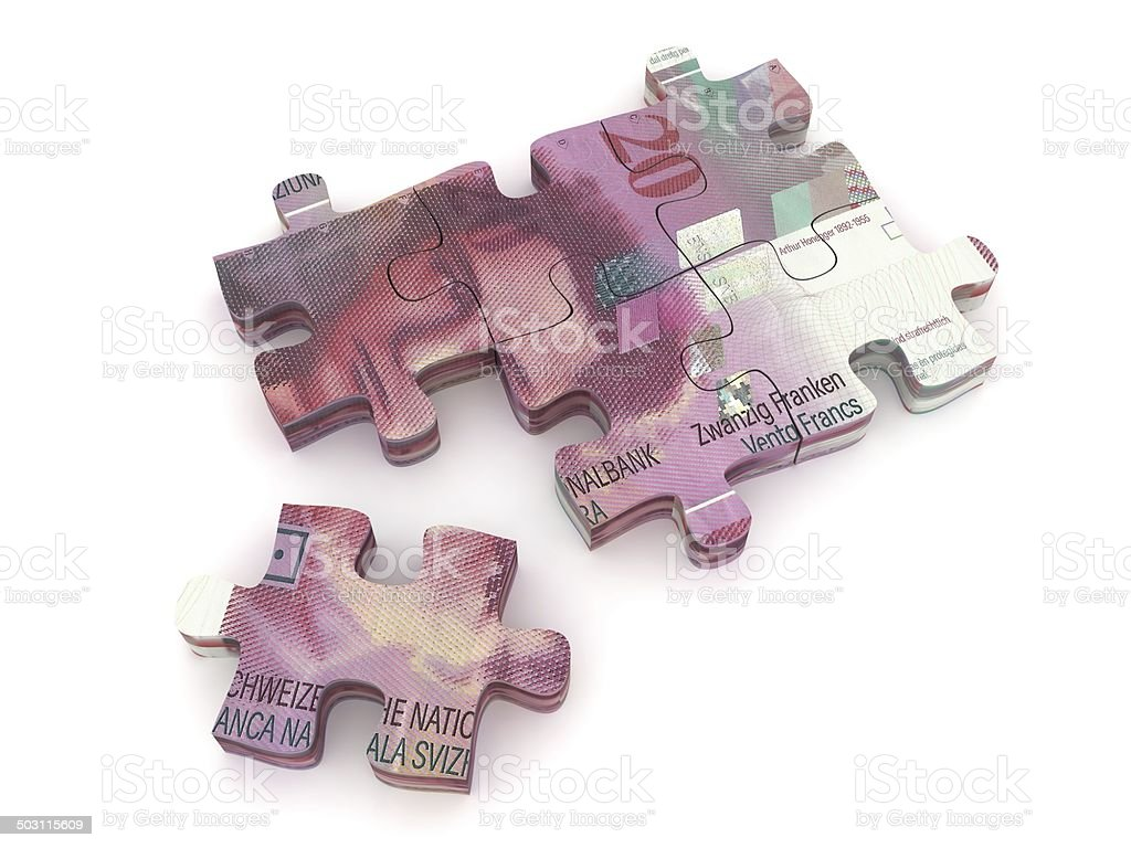Swiss Francs Puzzle stock photo