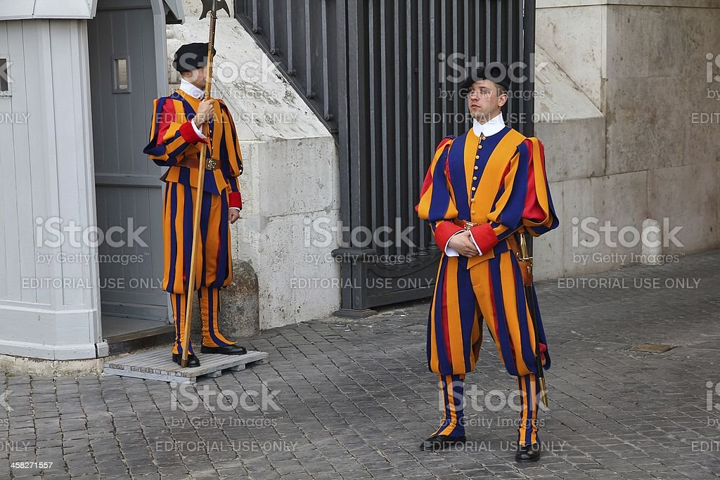 Swiss Guards in Vatican stock photo