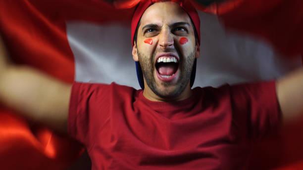 Swiss Guy Waving Switzerland Flag stock photo