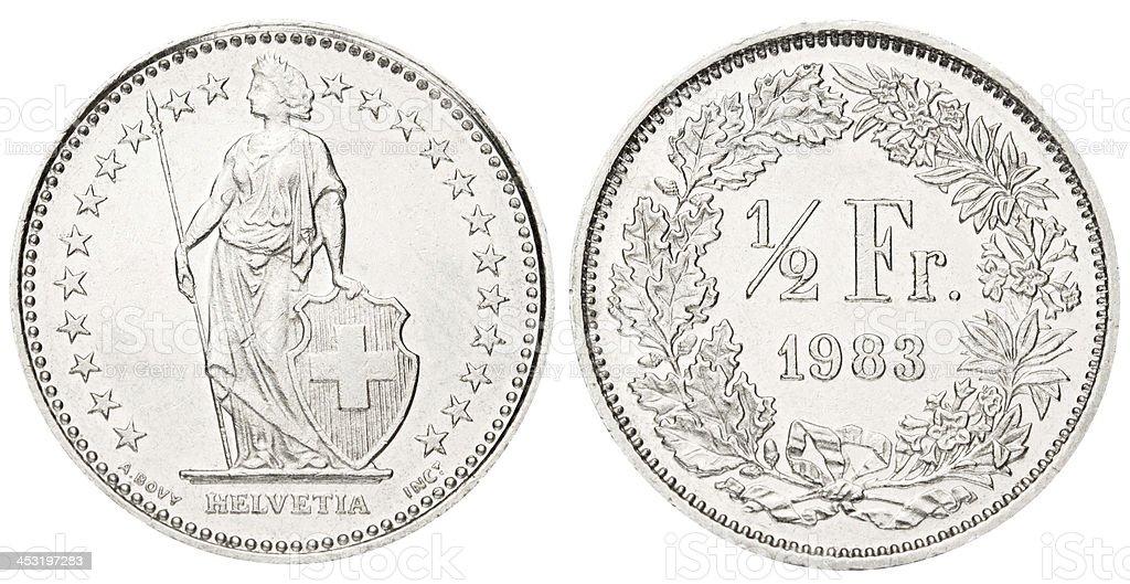 Swiss Half Franc on white background royalty-free stock photo