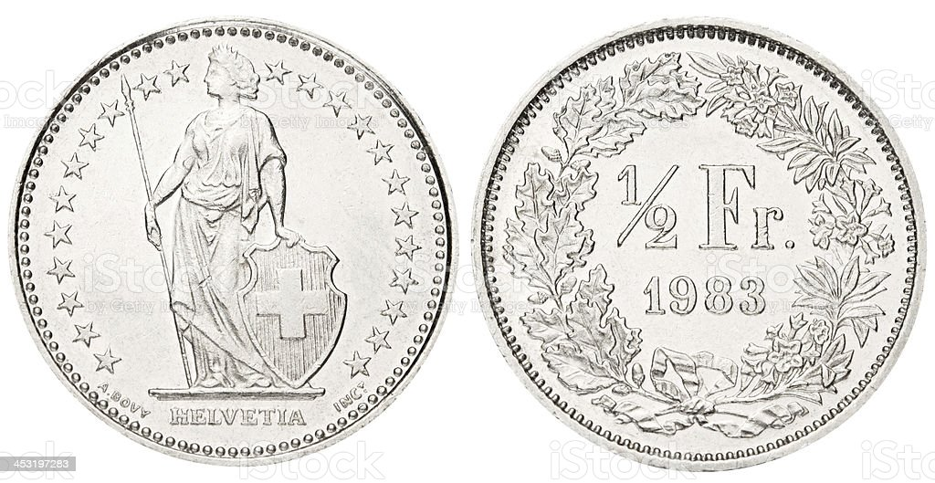 Swiss Half Franc on white background stock photo
