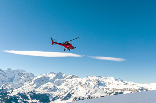 Swiss helicopter rescue in the mountains