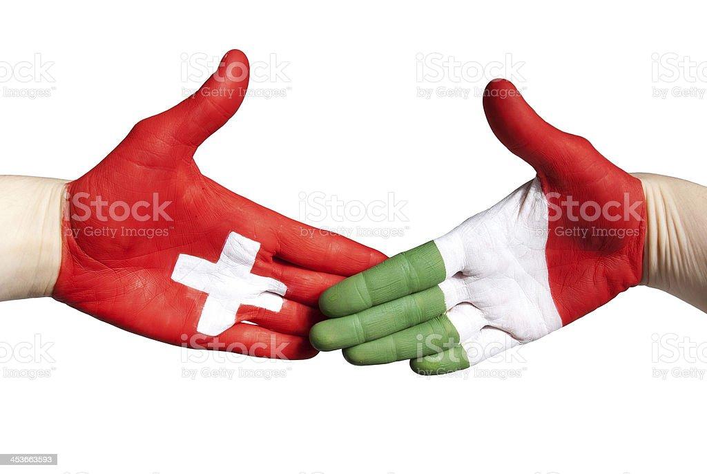 swiss italian handshake royalty-free stock photo